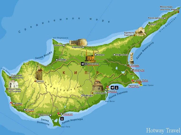 Отдых на Кипре в июле карта