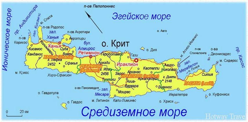 Отдых на Крите в июле карта