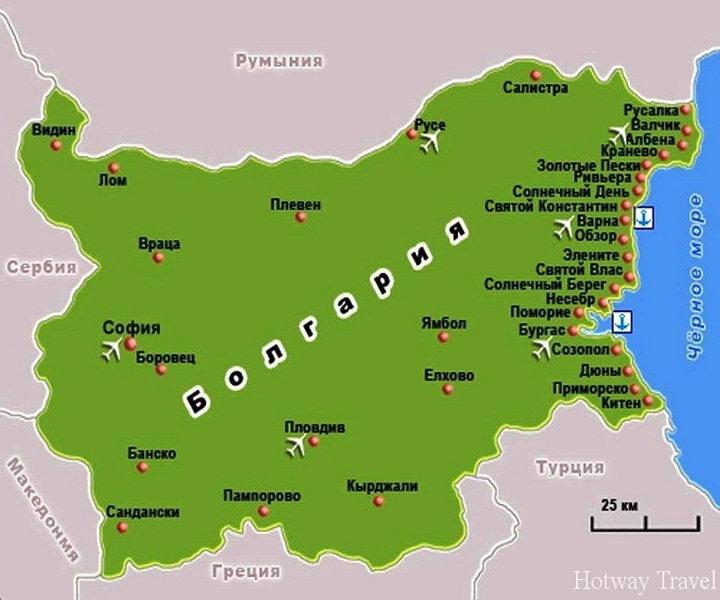 Отдых в Болгарии в июле карта1