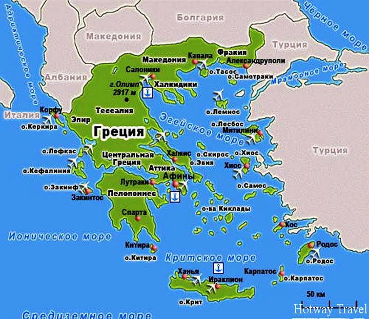 Отдых в Греции в июле карта