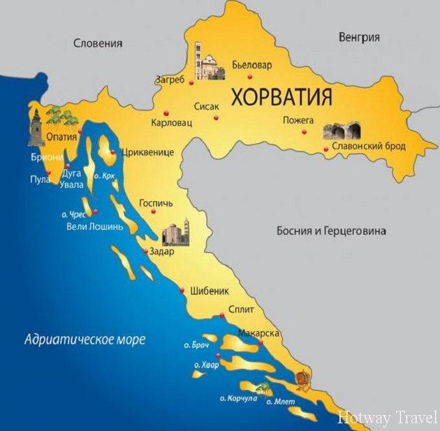 Отдых в Хорватии в июле карта
