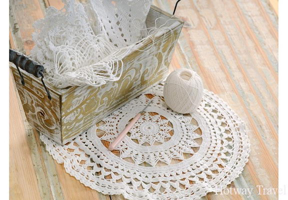 white lace in vintage basket