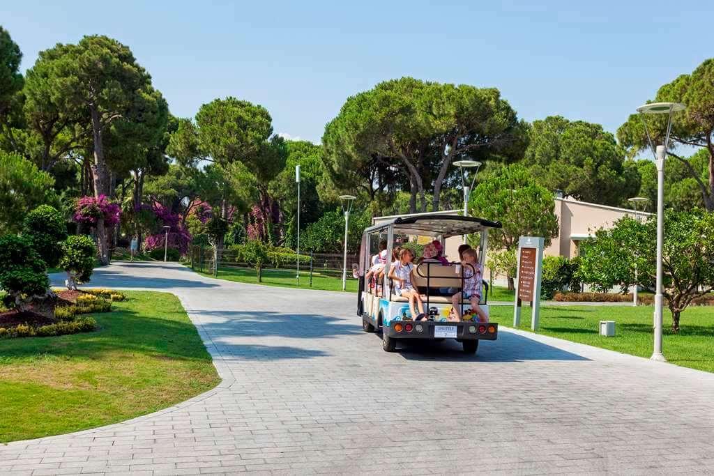 по территории весело катятся электромобили, и самые утомленные и распаренные на южном солнце гости доберутся до своих номеров с ветерком.